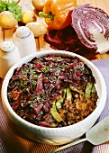 Mince bake with green beans and red cabbage