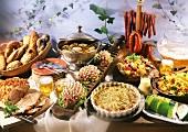 Buffet: meat, soup, mince hedgehog, courgette dish, fruitsalad