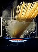 Spaghetti Boiling in Water