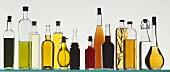 Several Oils and Vinegars in Glass Bottles