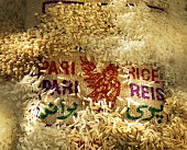 Piles of Rice with a Burlap Sack