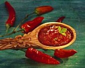 Salsa mexicana: spicy red sauce with coriander