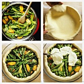 Making summer vegetable quiche