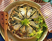 Cod quiche with dill mousse & dill flowers, in pieces
