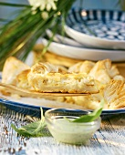 Halibut quiche with basil sauce