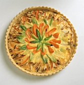 Whole carrot and leek tart with pine nuts