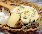 Unbaked pizza with cheeses, rosemary and sage in basket