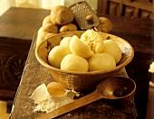 Potato dumplings in rustic bowl