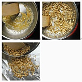 Toasting rolled oats