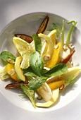Winter salad with fennel, avocado, oranges, dates & nuts