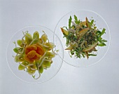 Mixed sprout salad with apples, soya sprout salad with leeks