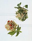 Bulgur salad with mint & quinoa salad on salad servers