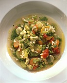 Vegetable soup with pistou and rice