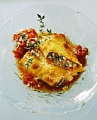 Cannelloni filled with aubergine & courgette, tomatoes & thyme