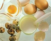 Whole eggs, a broken egg, quail's eggs & a beaker of milk