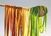 Colored Ribbon Pasta on a Wooden Spoon
