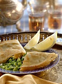 Brik (Tunisian semolina pasty) filled with savoy & egg