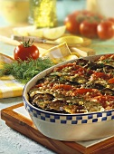 Cold vegetable gratin: aubergines, tomatoes, courgettes, dill