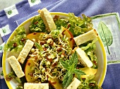 Sprout salad with cheese croutons & nectarines