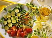 Steamed summer vegetables with lemon mousse & lemon balm