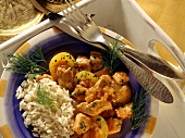 Turkey ragout with apricots, dill and rice