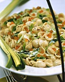 Pasta with leeks and salmon caviare in cream sauce