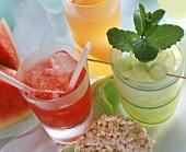 Watermelon, honeydew melon & orange drinks