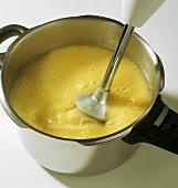 Making quick potato soup