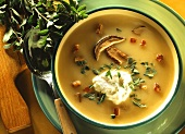 Potato soup with yellow boletus, swirls of cream & marjoram