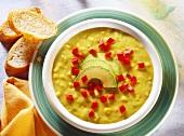 Potato & pepper soup with avocado & diced red pepper