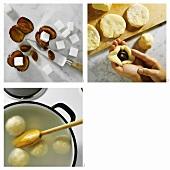 Making Bohemian plum dumplings