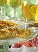 Classic rosti on platter with knife