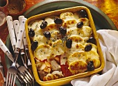 Provencal potato casserole with veal and olives