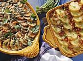 Potato and shallot gratin & potato and carrot gratin
