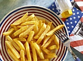 Fries on plate with USA decoration