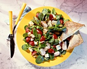 Corn salad with radishes, blue cheese & wholemeal toast