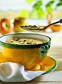 Sauerkraut soup with apple & pumpkin seeds in soup bowl