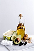 Vegetable fats: olive oil, soya margarine, palm kernel oil