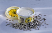 Sunflower margarine and sunflower seeds