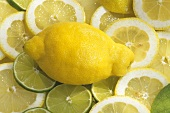 One whole lemon on lemon and lime slices