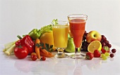 Fruit & vegetable juice in glass, fresh fruit & vegetables