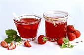 Strawberry jelly with rose petals in two preserving jars