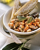 Minestrone di fagioli (bean stew with mushrooms and sage)