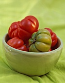 Red and Green Tomatoes in a Bowl