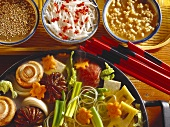 Shabu shabu: fondue with meat & vegetables in broth; dips