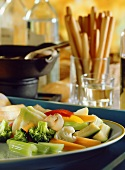 Bagna cauda (vegetables with hot anchovy sauce, Italy)
