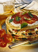 Pickled pork & spinach torte (pancake tower) with tomatoes