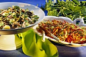 Curried egg salad & lentils; Hungarian cabbage salad & peppers