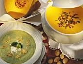 Broccoli soup with almonds & pumpkin soup with pumpkin seeds