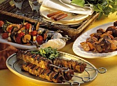 Shrimp & vegetable kebab, doner kebabs, Middle Eastern kebabs